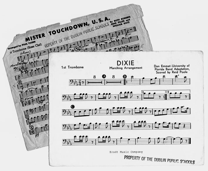 DHS sheet music -- Dixie and 'The Fight Song'
