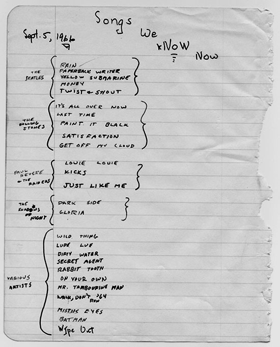 Set list from 1966